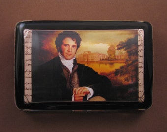 Mr. Darcy Portrait from Jane Austen's Pride and Prejudice Pemberley Large Rectangle Glass Paperweight Regency Home Decor