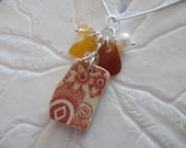 Amber Sea Glass Necklace Pottery Shard Jewelry Beach Glass Sterling Pendant