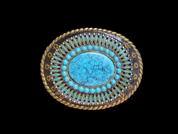 Unisex Western Southwestern Belt Buckle with Vintage Faux Turquoise Focal