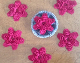 Five 5 layer Red Irish Rose Lacy Crochet Flowers for Brooches, Pins, Trims, etc.