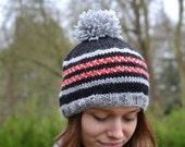ON Sale Womens Teens Boys Fair isle Beanie Hat, Ski Hat, Icelandic Pompom Hat, Warm Chunky Hat, Knit hat, UK Hat, Xmas Gift Present