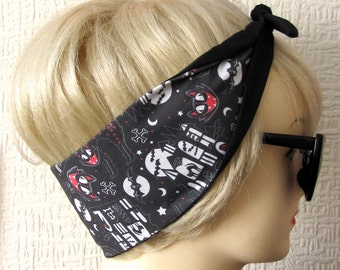 Halloween Hair Tie by Dolly Cool Alley Cat Haunted House Skeleton Bat Self Designed Fabric