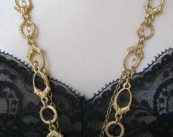 "Vintage goldtone textued long Crown Trifari chain, equestrian look goldtone Trifari chain link necklace, 56"" long chain necklace Trifari"