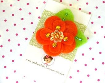 NEW ITEM----Boutique Hair Clip Clippie----Felt Flower----Orange