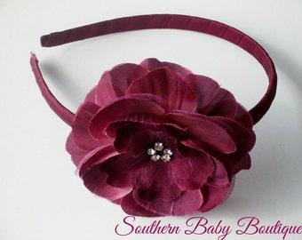 NEW----Rhinestone Flower Arched Headband----Burgundy Wine