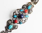 Vintage Sterling Silver Tibetan or Nepalese Link Bracelet w/ Turquoise, Coral, Lapis, Amber Cabachons - Massive Heavy Old Himalayan Antique