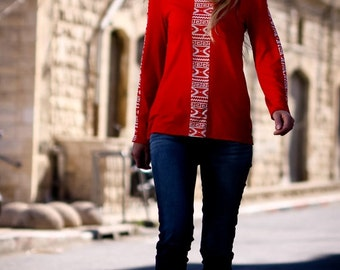 Sale Womens clothing-womens blouse-Red long sleeve top- Plus size top-Womens clothes