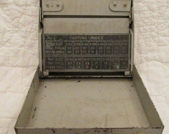 Vintage Drill Bit Organizer Steel Box holds multiple small bits has charts SALE