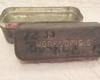 Antique Tin Storage Box from Old Industrial Mill SALE