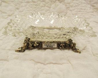 Vintage Ashtray Souvenir Virginia City Nevada glass metal SALE