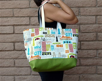NEW YORK skyline and city with green fabric, OOAK tote in home decor and cotton duck fabrics with large pocket and cotton webbing straps