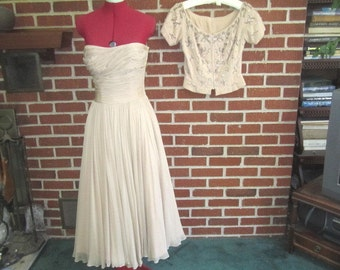 Reserved for Natalie...Vintage 1950s Ceil Chapman Designer Gorgeous Silk Chiffon Party Dress with Beaded Rhinestone Jacket