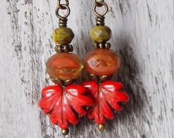 Leaf Earrings Czech Glass Earrings Maple Leaf Rustic Earrings Picasso Red Bittersweet Orange Jewelry Earthy Woodland Autumn Gift Earrings