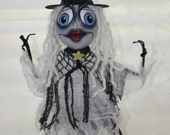 Gourd Art Figure, Grey Lady -  Witch Art Doll - OOAK -  Gourd Art