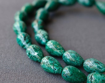 Green Mosaic Beads - Stone Drop Emerald Green Bead Strand