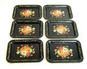Vintage Floral Tip Trays, Black Tip Trays, Set Of Six