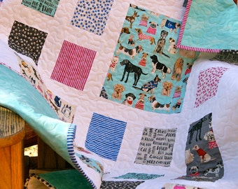 Quilt Baby Nursery Bedding Toddler Children Hot Dogs Cool Cats Scrappy Patchwork Lap Throw Cot Organic Aqua Gray Pink Organic Cotton Paws