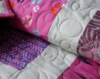 Quilt Baby Toddler Nursery Bedding Cotton + Steel Pink Fuchsia Grey Scrappy Patchwork Girl Cot Squares Rectangles Modern Bright