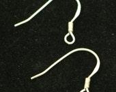 10 Sterling SILVER French Hook Ear Wires Earrings Earwires - 17x19mm 21Gauge 0.7mm Wire - 5 Pair Fish hook ear wire - ss746