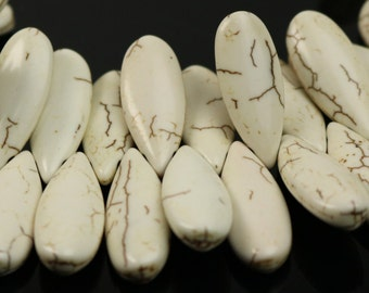 20pcs Howlite Turquoise IVORY Teardrop Briolette Drop - 25x11mm 5.5mm thickness