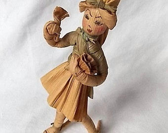 Unusual Vintage Corn Husk Doll Colorful Hand Drawn Face & Short Skirt