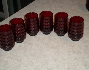 6 ruby red Anchor Hocking Glass Bubble tumbler glasses