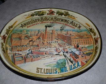 Anheuser Busch Brewing America's largest and favorite Brewery vintage factory St. Louis Budweiser beer TRAY