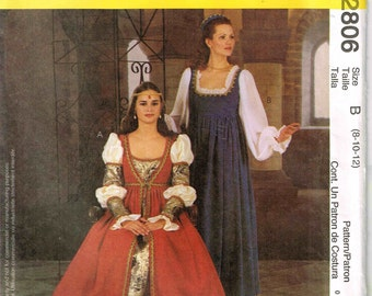 Misses Renaissance Gown Cosplay Dress Mameluke Puffed Sleeve McCalls 2806 Halloween Costume Size 8, 10, 12 Bust 31.5 32.5 34 Uncut