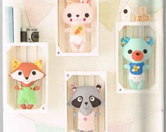 Plushie Stuffed Fox Racoon Bear Rabbit Plush Dolls Craft Gift Simplicity 1081 Sewing Pattern