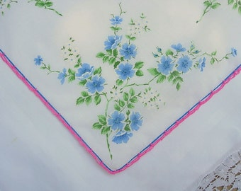 Vintage White Hanky with Blue Flowers and Crocheted Edge - Handkerchief Hankie