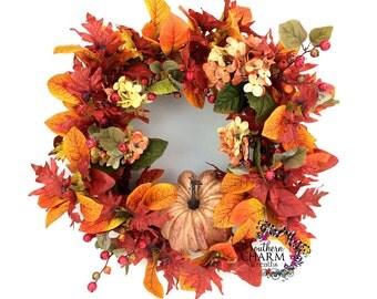 Fall Wreath, Autumn Wreath, Thanksgiving Wreath, Pumpkin Wreath, Fall Leaf Wreath, Natural Fall Wreath, Thanksgiving Wreath for Door,