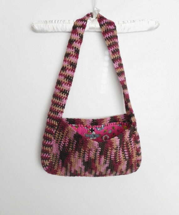 Pink and Brown Crochet Shoulder Purse with Floral Print Lining, ready to ship.