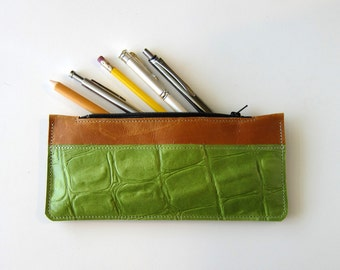 Leather Mini Clutch, Eyeglass Case, Phone Case, Makeup Brush Pouch, Jewelry , Pencil Pen - Two Tone Color Leather