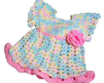 Pink Dress, Crochet Baby Dress, Pastel Colors