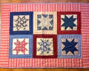Primitive Star Quilted Candle Mat