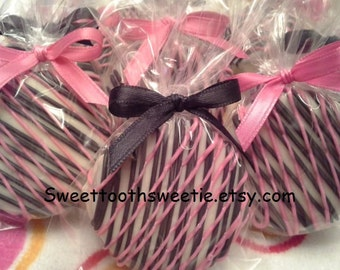 Pink and Black Chocolate Covered Oreos Cookies Pink Paris Theme Cookies Baby Shower Favor Wedding Favors Sweet 16 Party Favors 40th Birthday
