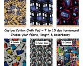 Custom Cotton Cloth Pads ~ Doctor Who Prints ~ Choose Length & Absorbency ~ AP or Windpro fleece ~ Reusable Cloth Menstrual Pads, Custom Pad