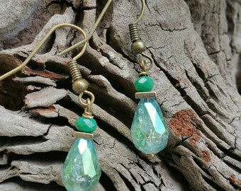 "Original Design Earrings, ""Cracked Glass""  Organic, Bohemian, Hippy, Boho, Natural, Crystal"