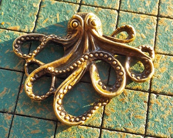 large Kraken charms, 8pcs, cthulhu, nautical, pirate, steampunk, connector, jewelry supply, octopus, sea monster