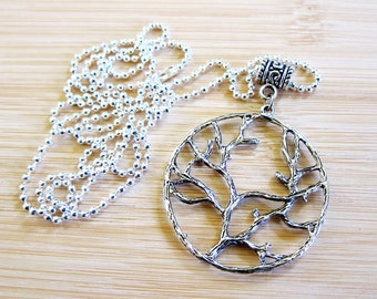 Tree of Life Large Pendant Necklace Silver Plated Ball Chain