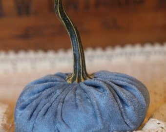 Scented Velvet Pumpkin, Slate Blue Panne' Stretch Velvet