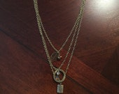Bohemian 3 layer leaf, fern antique gold necklace