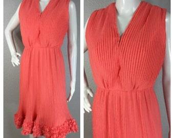 Vintage 1960s Orange Pleated Chiffon Dress Carrie Couture Ruffled Hem