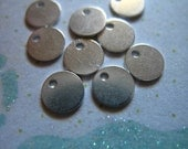 """Sterling Silver Blanks Discs, 6 7 8 or 9 mm, 1/4"""" 1/3"""" or 3/8"""" Circle Round Metal Blank, personalize custom stamping - blank8 blank110 v1"""