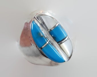 Turquoise Ring, Native American, Mother of Pearl, Sterling Silver, Vintage Jewelry, Inlay, MOP, Size 10 1/2, Mens Mans, Boho, Statement