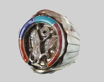 Eagle Ring, Turquoise Ring, Horseshoe, Sterling Silver, Native American, Vintage Ring, Lapis, Coral Oyster, Inlaid Inlay, Signed, Mens Mans