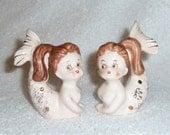 Vintage Relco Mermaid Salt and Pepper Shakers Pink Retro Mid-Century Modern Figurines Figures
