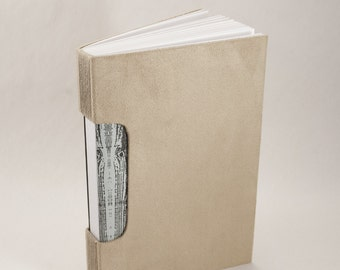 Journal, Notebook, Sketchbook or Guestbook, Hand-Bound with a Suede Cover and Wood Grain End Papers