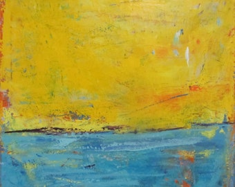 Abstract Landscape Modern Art, Yellow Blue Painting, 24 x 24 inches, by Francine Ethier
