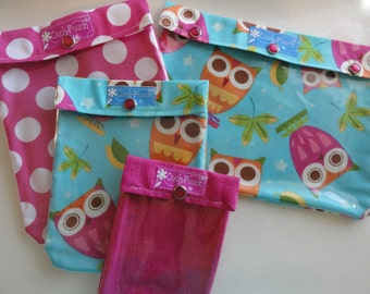 Ouch Pouch Matching Set Clear Front Pockets for Diaper Bag First Aid Baby Supplies Hospital Care Package (Aqua Owls/Dots) Mom Gift Under 40
